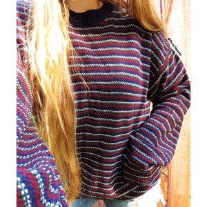 Vintage coastal nights striped slouchy sweater 🌊